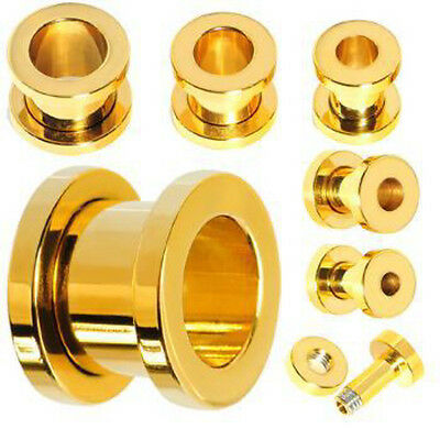 PAIR Gold Plated Screw Fit Tunnels Ear Plugs Earlets Gauges