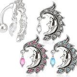 3pcs Crescent Moon Reverse Belly Rings
