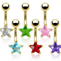 6pcs Gold Plated Star Solitaire 14g Belly Rings Navel