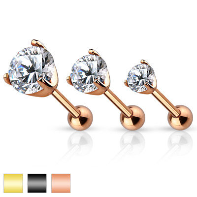 3pc Set of CZ Gem Ion Plated Tragus Helix Cartilage Ring Stud Earring 16g 1/4""