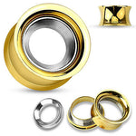 PAIR Gold Internally Threaded Tunnels w/ Removable Steel Disc