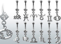 12pcs Zodiac Sign Gem Belly/Navel rings wholesale lot