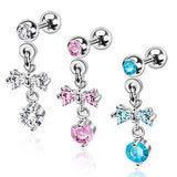 3pcs Gem Stud 16g Tragus Rings w/Ribbon & Orb Dangle Barbells