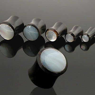 PAIR Mother of Pearl Inlaid Horn Plugs