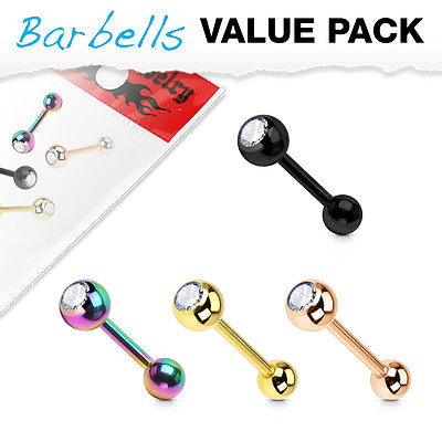 4pc Value Pack Ion Plated Gem Tongue Rings