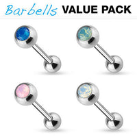 4pc Value Pack Opalite Crystal Gem Tongue Rings