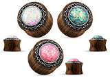 PAIR Synthetic Opal w/Tribal Pattern Casting Wood Saddle Plugs