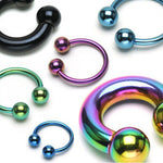 PAIR Titanium Septum, Eyebrow, Nipple Rings Horseshoe Circular Barbells