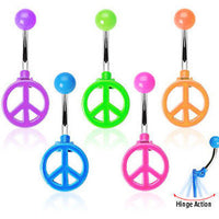5pcs Peace Sign Neon Hinged Belly Rings Navel naval