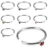 8pcs Gem Nose Hoops 20g Rings
