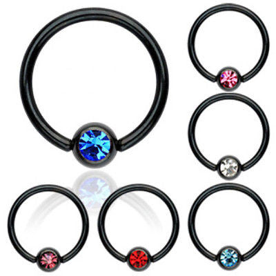 12pcs Black Titanium Plated Steel Gem Captive Bead Rings