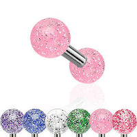 6pcs Glitter UV Ball Stud Tragus Rings