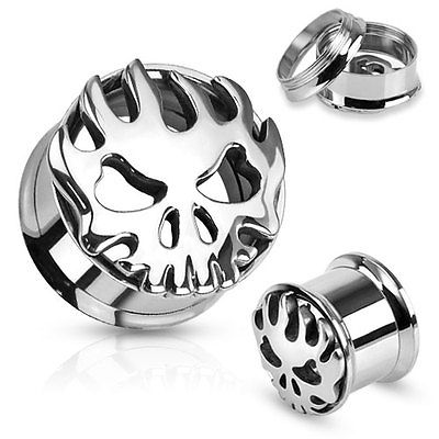 PAIR Carved Skull w/Flames Steel Double Flare Tunnels