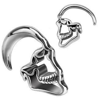 PAIR 316L Surgical Steel Skull Hanging Tapers