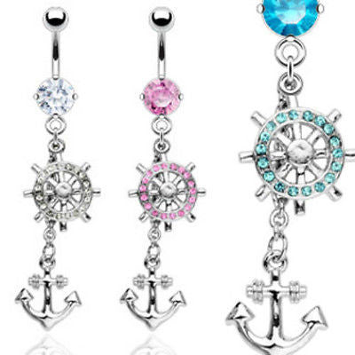 3pcs Anchor & Ship Wheel Belly Rings Navel Naval