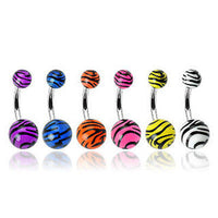 6pcs Tiger Print Belly Rings Navel naval