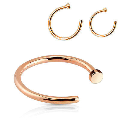 1pc Nose Ring Rose Gold IP Surgical Steel Hoop