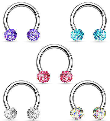 1pc Crystal Paved Ferido Balls Horseshoe Ring Lip Nipple Septum Circular Barbell