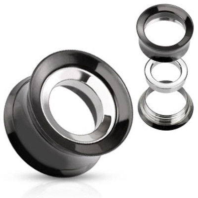 PAIR Black Steel Internally Threaded Tunnels w/ Removable Disc
