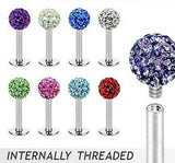 Internally Threaded Labret w/Ferido Crystal 3mm Gem Ball - CHOOSE YOUR COLOR