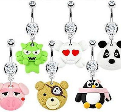 6pcs Hardened Clay Character Style Dangle Belly Rings