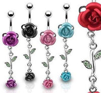 5pcs Rose w/Stem Dangle Belly Rings