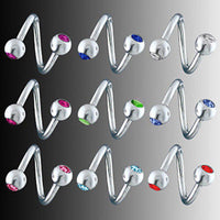 10pcs Gemmed Spiral Belly Rings Navel naval