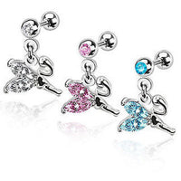 3pcs Gem Stud 16g Ear Tragus Rings w/Fairy Dangle