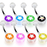 8pcs Star Inlay Acrylic Belly Rings Navel naval