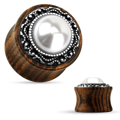 PAIR Imitation Pearl w/Tribal Pattern Casting Wood Plugs
