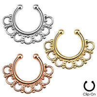 1pc Non-Piercing Tribal Fan Septum Hanger