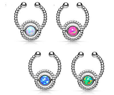 1pc NON-Piercing Silver Roped Circle Design Septum Hanger Opal Gem