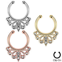 1pc Non-Piercing Filigree w/Gems Septum Hanger