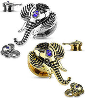 PAIR Gold or Steel Elephant Sapphire Blue Gem Screw Fit Tunnel Plugs