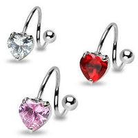 3pcs Heart Gem Spiral 14g Belly Rings