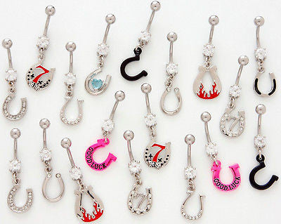 *SPECIAL PURCHASE* 10pcs Horse Shoe Mix Belly Rings Lucky Horseshoe