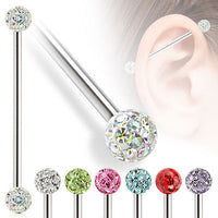 1pc Industrial Barbell with Clear Epoxy Coated Ferido Balls
