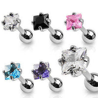 5pcs Square CZ Gem Stud 16g Tragus Rings