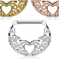 PAIR Hollow Heart Filigree Nipple Rings Shields
