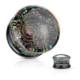 PAIR Sparkle Galaxy Design Pyrex Glass Double Flare Plugs