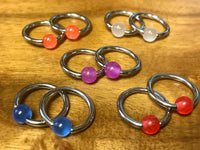 "PAIR Captive Bead Rings 14g - 1/2"", choose from UV, Glow, Glitter or Marble"