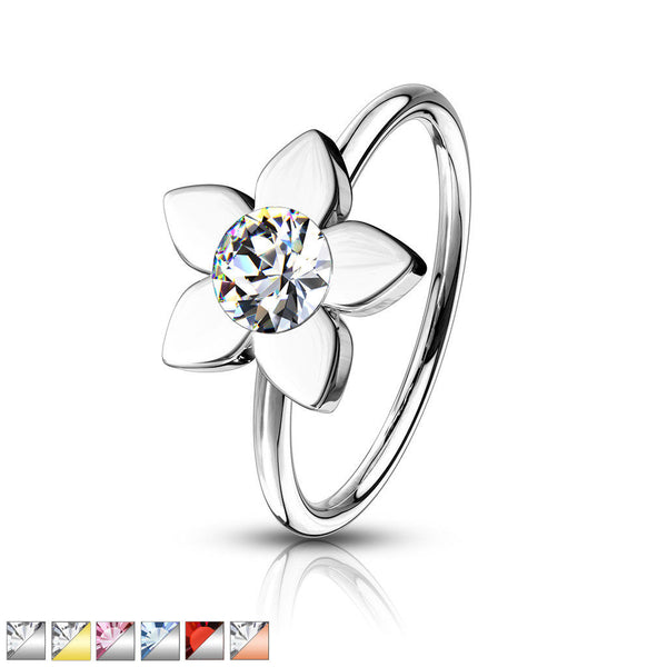 1pc Bendable Crystal Gem Flower Nose Hoop / Cartilage Ring