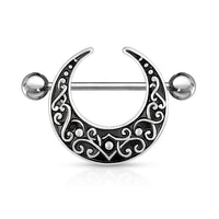 PAIR Crescent Shaped Filigree Nipple Rings Shields Body Jewelry