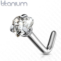 1pc Solid Grade 23 Titanium L-Bend Nose Ring w/ Heart CZ Gem