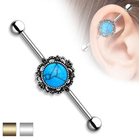 1pc Turquoise Lacey Filigree Industrial Barbell