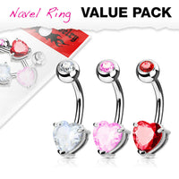 3pc Value Pack Heart Prong Set CZ Gem Surgical Steel Belly Rings Navel Naval