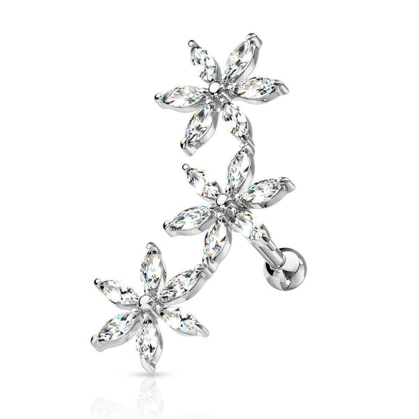 1pc Marquise CZ Gem Flowers Curve Helix Barbell Tragus Cartilage Ring 16g 1/4""