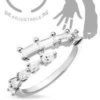 Princess and Pear Cut Crossing CZ Gems Adjustable Nail Ring / Toe Ring