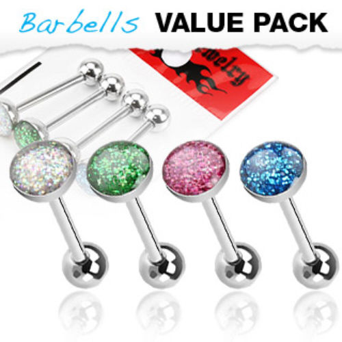 4pc Value Pack Glitter Ball Steel Tongue Rings