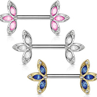 PAIR Crystal Set Three Petal Flower Ends Nipple Rings Shields